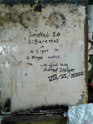 """smoked 20 cigarettes + a cigar in a single watch"""