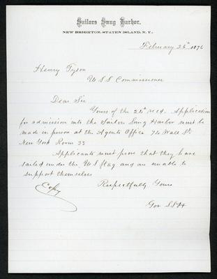 "The letter is handwritten in brown ink on cream-colored Sailors' Snug Harbor letterhead, which has faint blue lines. It is marked ""Copy"" to the left of the empty signature area."