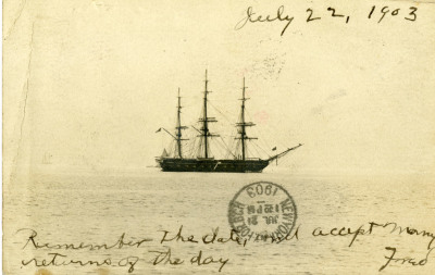 Image of postcard with ship and message written on bottom and stamped 1903.