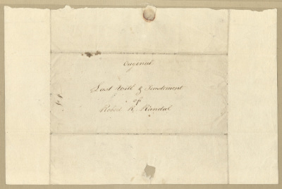 """Last Will and Testament of Robert R. Randall. Cover sheet. Recto. In the center of the sheet is the handwritten cursive text """"Original Last Will and Testament of Robert R. Randall"""" in brown ink."""