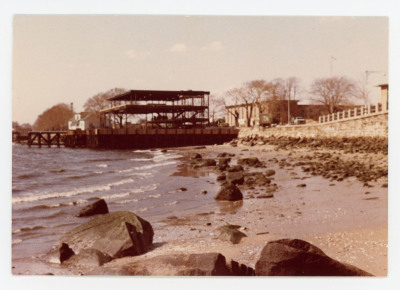 Shore view of construction of McMurray Hall.