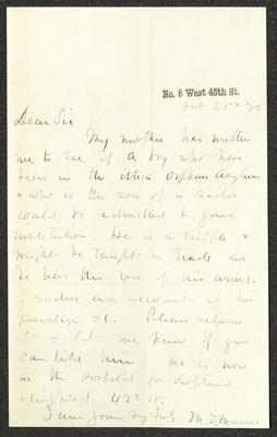 The letter is handwritten in dark brown ink on cream-colored paper. It has been folded several times and the most prominent fold divides the sheet in half vertically.