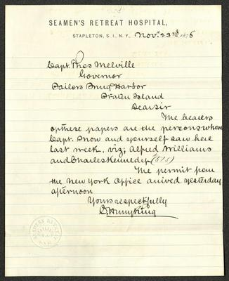 The letter is handwritten in brown ink on Seamen's Retreat Hospital letterhead, which is printed on cream-colored paper with blue lines. The sheet has been folded several times. In the lower left corner is the embossed seal of the Seamen's Retreat.