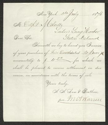 The invoice is handwritten in brown ink on a pre-printed form from A.A. Low & Bros. The paper has been folded several times.