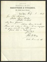 Letter to Captain Thomas Melville, Governor of Sailors' Snug Harbor, from Thomas D. Day, of Hazell & Co. Hardware & Cutlery, February 8, 1877