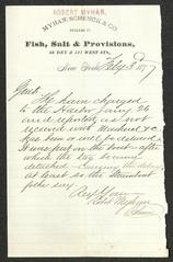 Letter to Sailors' Snug Harbor, from Robert Myhan, of Myhan, Schenck & Co., February 3, 1877