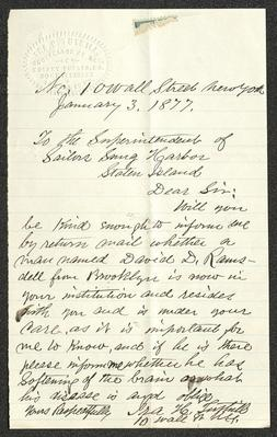 The letter is handwritten in brown ink on cream-colored paper with faint blue lines. It has been folded several times and a prominent fold divides the sheet in half vertically. In the upper left corner is Ira H. Tuthill's embossed seal.