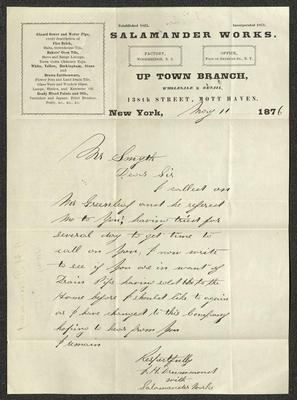 This letter is handwritten with black ink on Salamander Works letterhead, which is on cream-colored paper.