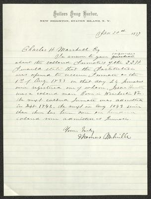 The letter is handwritten with dark brown ink on Sailors' Snug Harbor letterhead, which is printed on cream-colored paper with blue lines below the header. The sheet has been folded several times.