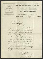 Letter to Mr. Smyth, Sailors' Snug Harbor, from J. H. Drummond, of Salamander Works, May 11, 1876