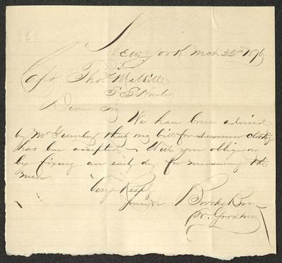 This letter is handwritten with brown ink on cream-colored paper with blue lines below the header. The sheet appears to have been torn from a larger piece of paper, as the bottom edge is rough, and has been folded several times, with the creases still evident on the paper.