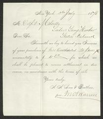 Invoice to Captain Thomas Melville, Governor, Sailors' Snug Harbor, for purchase of firecrackers, from A. A. Low & Brothers, July 5, 1876