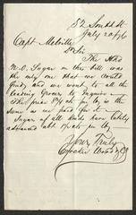 Letter to Captain Thomas Melville, Governor of Sailors' Snug Harbor, from Crocker, Wood & Co., July 20, 1876