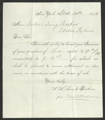 The invoice is handwritten in brown ink on a pre-printed form from A.A. Low & Bros.