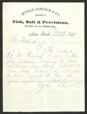 The letter is written in blue ink on Myhan, Schenck, & Co letterhead, which is printed on cream-colored paper with blue lines below the header. The paper has been folded several times.
