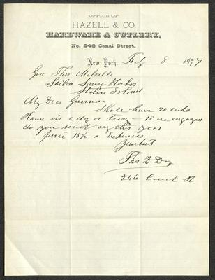 The letter is handwritten with dark brown ink on Hazell & Co. letterhead, which is printed on cream-colored paper with blue lines below the header. The sheet has been folded several times.