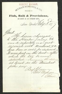 The letter is written in brown ink on Myhan, Schenck, & Co letterhead, which is printed on cream-colored paper with blue lines below the header. Robert Myhan's name has been stamped in red at the top of the page. The paper has been folded several times.