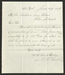 Invoice for purchase of tea by Sailors' Snug Harbor, from A. A. Low & Brothers, June 29, 1876