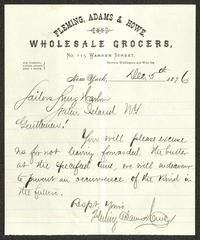 Letter to Sailors' Snug Harbor, from Fleming, Adams & Howe, Wholesale Grocers, New York, December 5, 1876