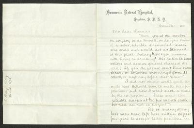 The letter is handwritten in brown ink on Seamen's Retreat Hospital letterhead, printed on cream-colored paper with faint blue lines. It has been folded in half; on the right half of this side of the paper is the first part of the letter. On the left half is a notation in the lower corner with the name of the sender and the date, written perpendicularly to the letter's text, probably for filing purposes.