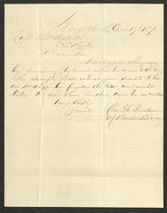 Letter to Captain Thomas Melville, Governor of Sailors' Snug Harbor, from Brooks Brothers, October 17, 1876
