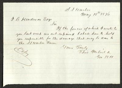 The letter is written in dark brown ink on cream-colored paper with blue lines. The bottom edge has been neatly torn.