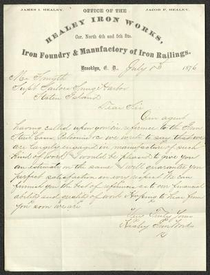 The letter is handwritten with dark brown ink on Healey Iron Works letterhead, which is printed on cream-colored paper with blue lines below the header. The sheet has been folded several times.