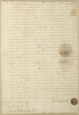 Document granting Power of Attorney for Thomas Randall to his son, Paul R. Randall. First leaf. Recto. The document is written in cursive script with brown ink. This page is signed by Thomas Randall and witnesses, with a round, mottled circle (perhaps a wax seal?) in dark red in the bottom right corner.
