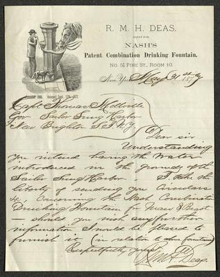 The letter is handwritten with dark brown ink on R. M. H. Deas's business letterhead, which is printed on cream-colored paper with blue lines below the header. The sheet has been folded several times.