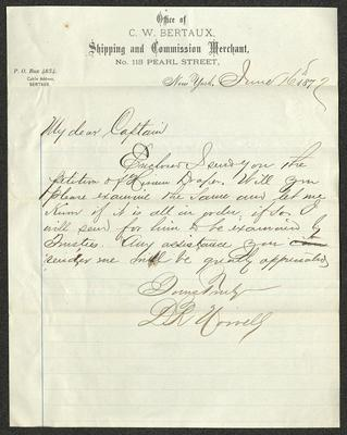 The letter is handwritten with dark brown ink on C. W. Bertaux, Shipping and Commission Merchant letterhead, which is printed on cream-colored paper with blue lines below the header. The sheet has been folded several times.