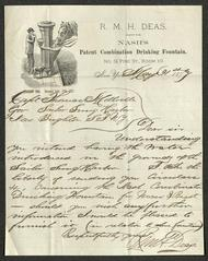 Letter to Captain Thomas Melville, Governor of Sailors' Snug Harbor, from R. M. H. Deas, of Nash's Patent Combination Drinking Fountain, May 31, 1877