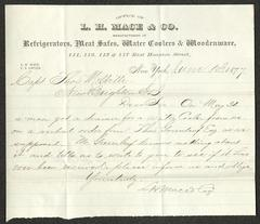 Letter to Captain Thomas Melville, Governor of Sailors' Snug Harbor, from L. H. Mace & Co., June 13, 1877