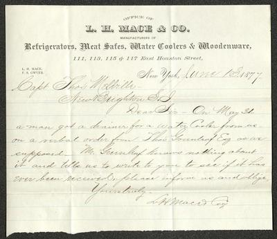 The letter is handwritten with dark brown ink on L. H. Mace & Co. letterhead, which is printed on cream-colored paper with blue lines below the header. The sheet has been folded several times.