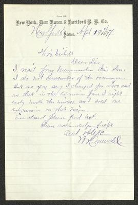 The letter is handwritten with blue ink on New York, New Haven and Hartford Railroad Company letterhead, which is on cream-colored paper with blue lines below the header. The sheet has been folded several times.