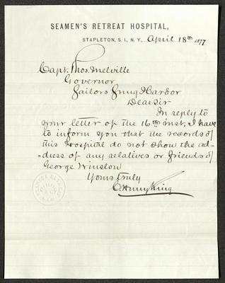 The letter is handwritten with dark brown ink on Seamen's Retreat Hospital letterhead, which is on cream-colored paper with blue lines below the header. The sheet has been folded several times. The Seamen's Retreat seal is embossed just to the left of the signature.