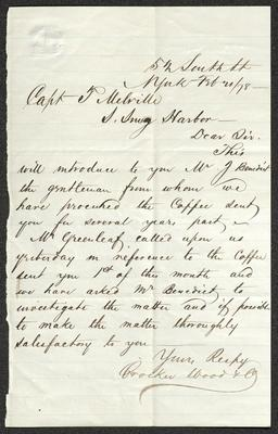 """The letter is handwritten in brown ink on cream-colored paper with blue lines. It has been folded several times. In the upper left corner is an embossed seal with a building underneath a word, perhaps """"Farmington."""""""