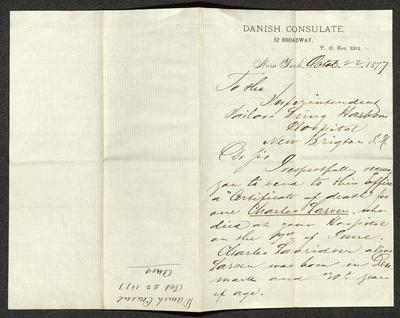 The letter is handwritten in brown ink on cream-colored Danish Consulate letterhead. It has been folded in half; on the right half of this side of the paper is the first part of the letter under the header. On the left half, oriented in the opposite direction as the letter, is a notation in the upper corner with the affiliation of the sender, and date, with a note that the letter was answered, probably for filing purposes.