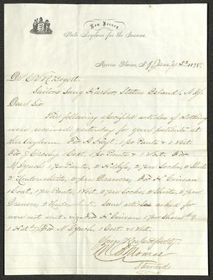 This letter is handwritten with brown ink on New Jersey State Asylum for the Insane letterhead, which is on cream-colored paper with blue lines below the header. The sheet has been folded several times.