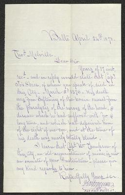 The letter is handwritten in blue ink on cream-colored paper with faint blue lines. It has been folded several times and the most prominent fold divides the sheet in half vertically.