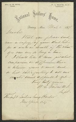 """The letter is handwritten with brown ink on National Sailors' Home letterhead, which is on cream-colored paper and has lines below the header. The sheet has been folded several times and has a distinct vertical fold dividing the paper in half. There is an inkblot over the """"m"""" in the word """"inmates"""" in the final line of the letter."""