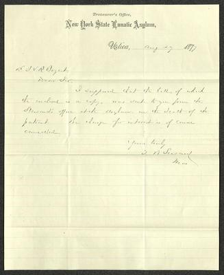 The letter is handwritten in brown ink on cream-colored New York State Lunatic Asylum letterhead, which has blue lines that start under the logo.