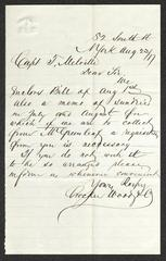 Letter to Captain Thomas Melville, Governor of Sailors' Snug Harbor, from Crocker, Wood & Co., August 23, 1877