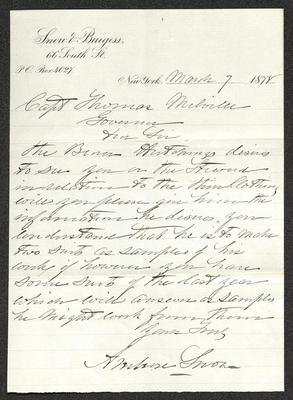 The letter is handwritten with black ink on Snow & Burgess letterhead, which is on cream-colored paper with blue lines below the header. It has been folded several times and the most prominent fold divides the sheet in half vertically.