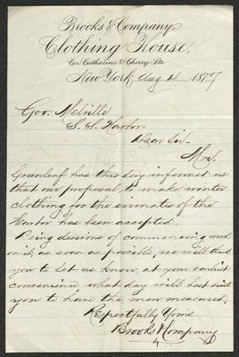 The letter is handwritten in brown ink on cream-colored Brooks & Company letterhead, which has blue lines under the header. The letter has been folded several times but a central vertical fold is prominent, dividing the sheet in half.