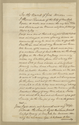 Last Will and Testament of Thomas Randall. First leaf. Recto. The first page of the will, handwritten in cursive script with brown ink.