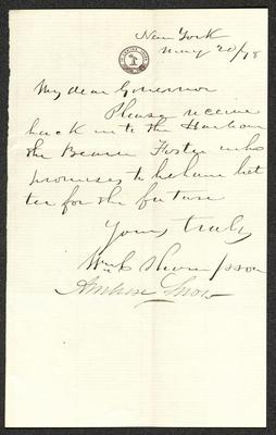 "The letter is handwritten in brown ink on cream-colored paper. It has been folded several times and the most prominent fold divides the sheet in half vertically. The majority of the handwriting on the sheet appears to match the signature of William C. Thompson and below his signature, in another hand, is the signature of Ambrose Snow. In the upper center part of the letter is a round printed seal with the words ""In Lumine Lucem."""
