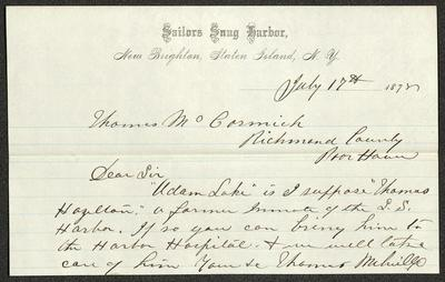 The letter is handwritten with dark brown ink on Sailors' Snug Harbor letterhead, which is on cream-colored paper with blue lines below the header. The sheet has a distinct horizontal fold dividing the paper in half.