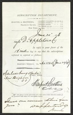 The letter is written in dark brown ink on a pre-printed form from Harper & Brothers Subscription Department, which is on cream-colored paper. The paper has been folded several times.