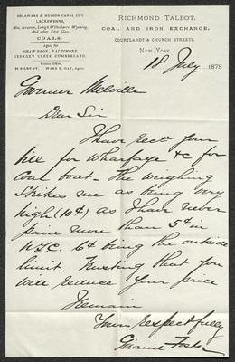 The letter is handwritten with black ink on Richmond Talbot letterhead, which is on cream-colored paper. The sheet has been folded several times.
