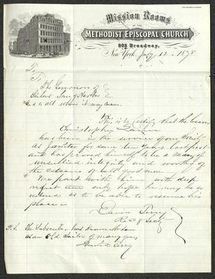 The letter is handwritten with dark brown ink on Methodist Episcopal Church Mission Rooms letterhead, which is on cream-colored paper with blue lines below the header. The sheet has been folded several times.